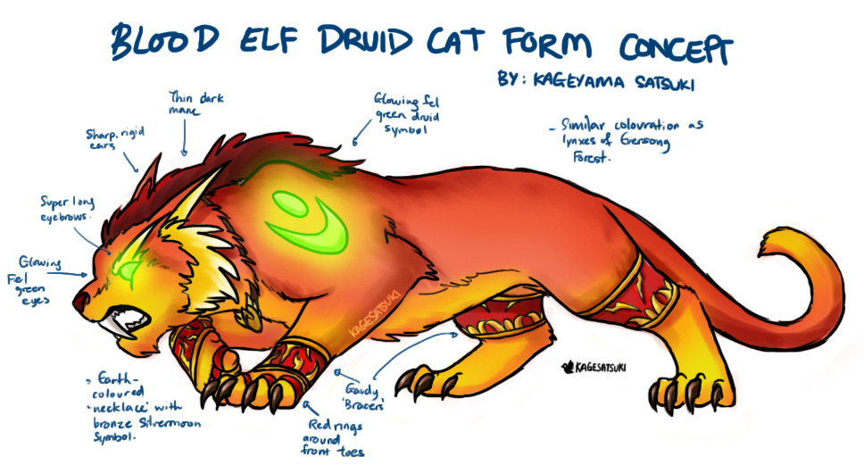 Another Warcraft Lore Breaking Concept Blood Elf Druid Cat Form